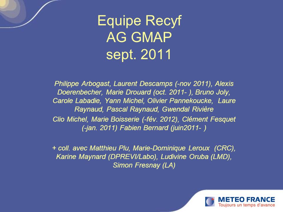 Equipe Recyf AG GMAP sept. 2011