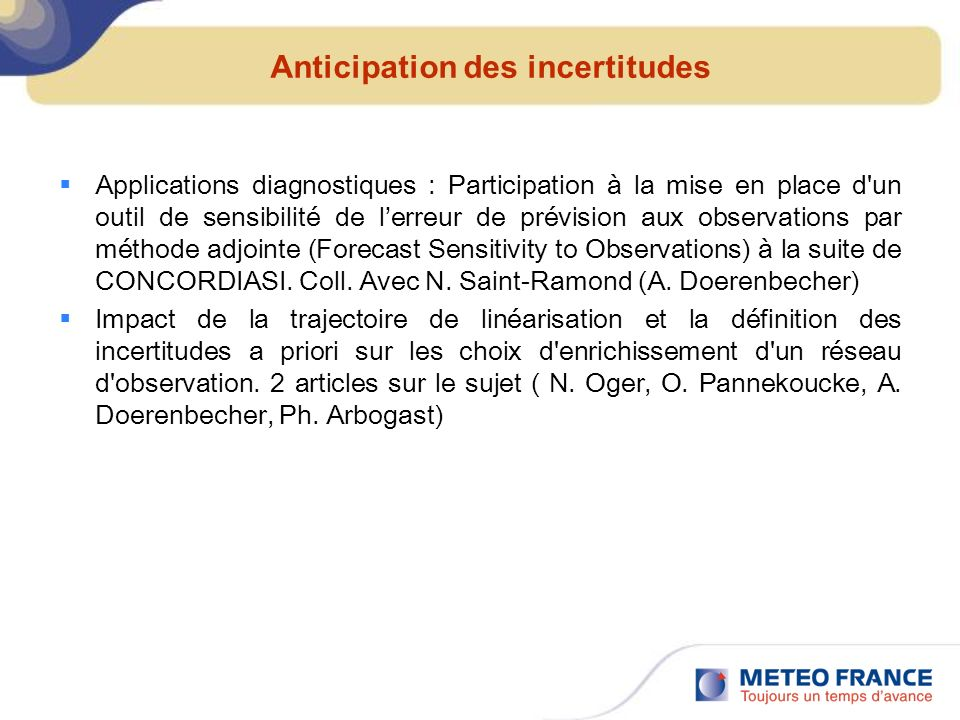 Anticipation des incertitudes