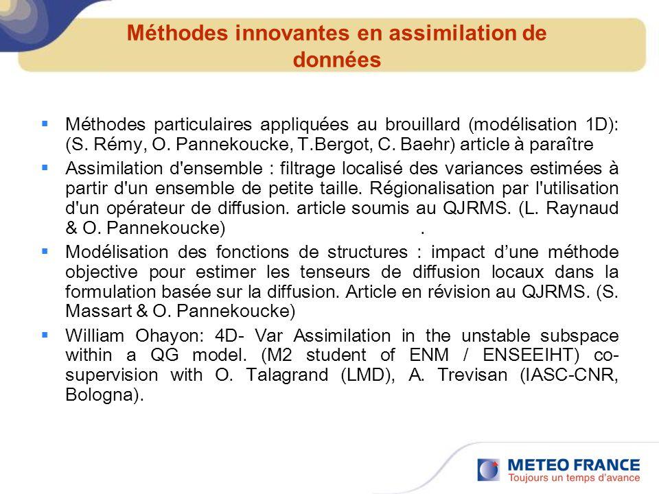Méthodes innovantes en assimilation de données