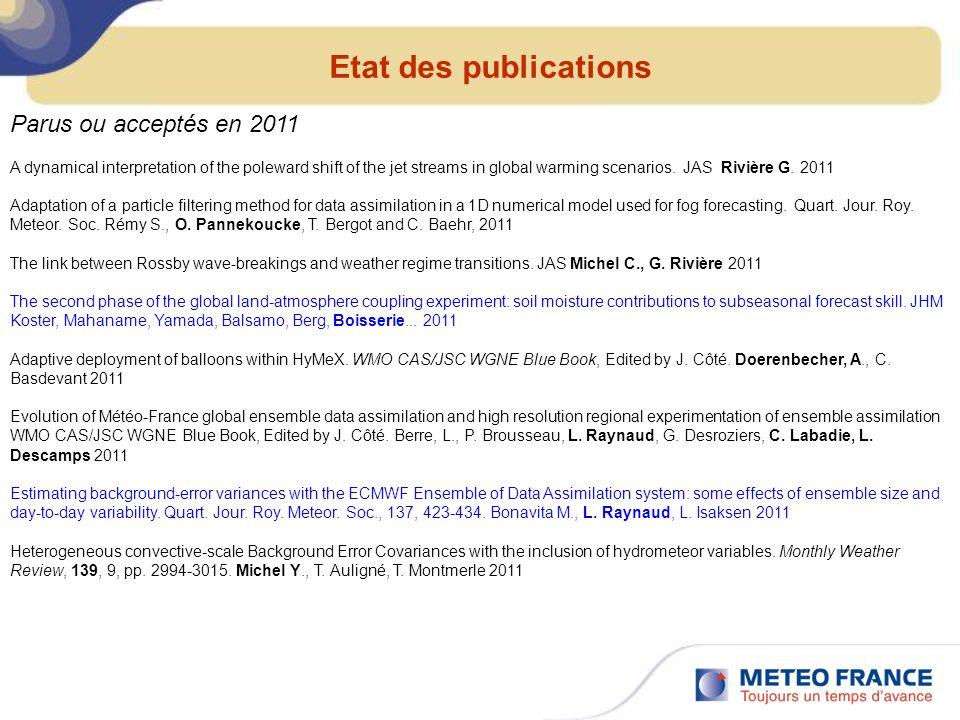 Etat des publications Parus ou acceptés en 2011