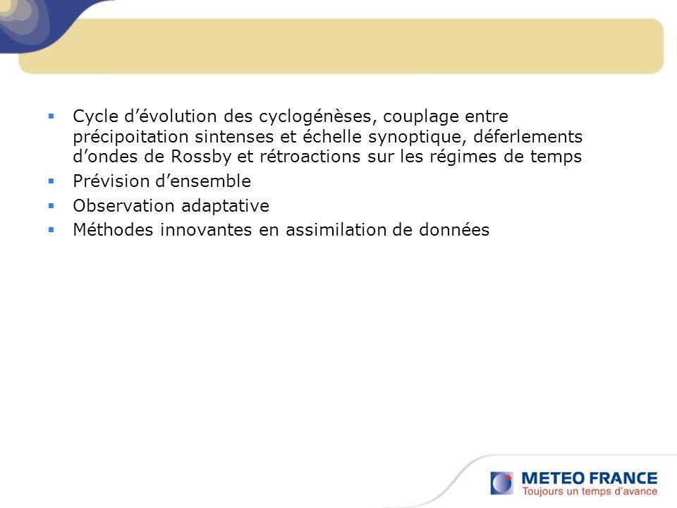 Cycle d'évolution des cyclogénèses, couplage entre précipoitation sintenses et échelle synoptique, déferlements d'ondes de Rossby et rétroactions sur les régimes de temps