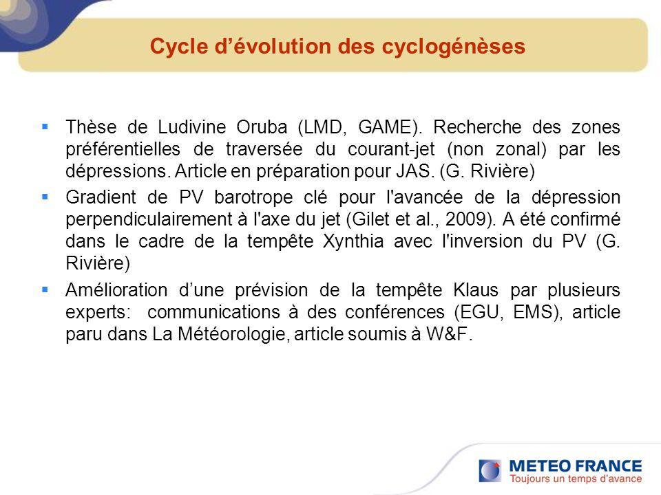 Cycle d'évolution des cyclogénèses