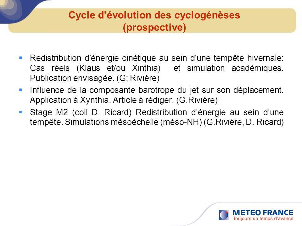 Cycle d'évolution des cyclogénèses (prospective)