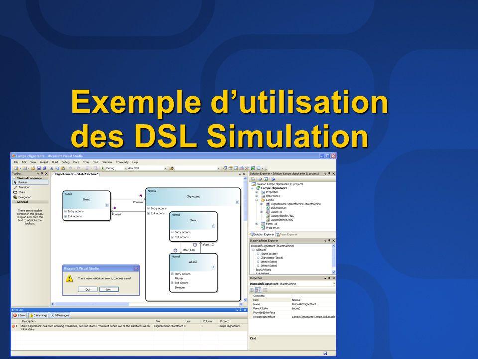 Exemple d'utilisation des DSL Simulation