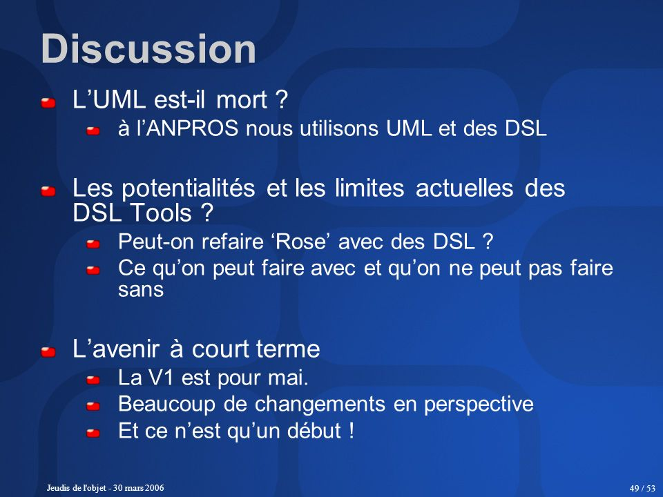 Discussion L'UML est-il mort