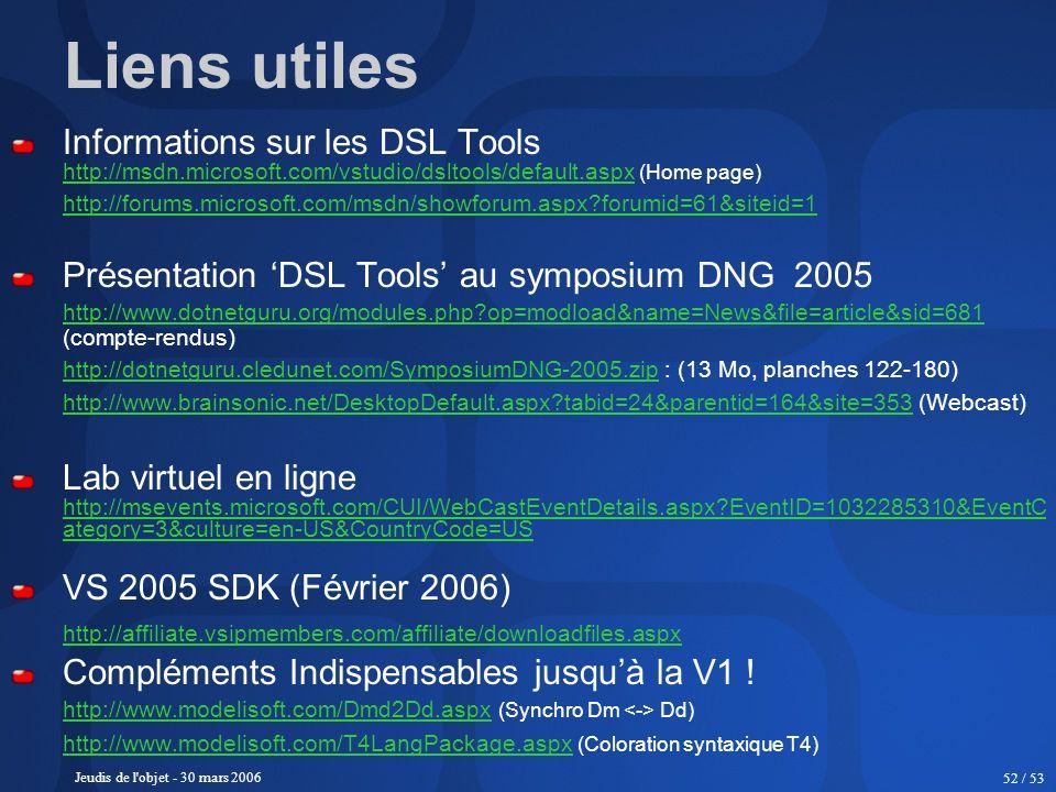 Liens utiles Informations sur les DSL Tools