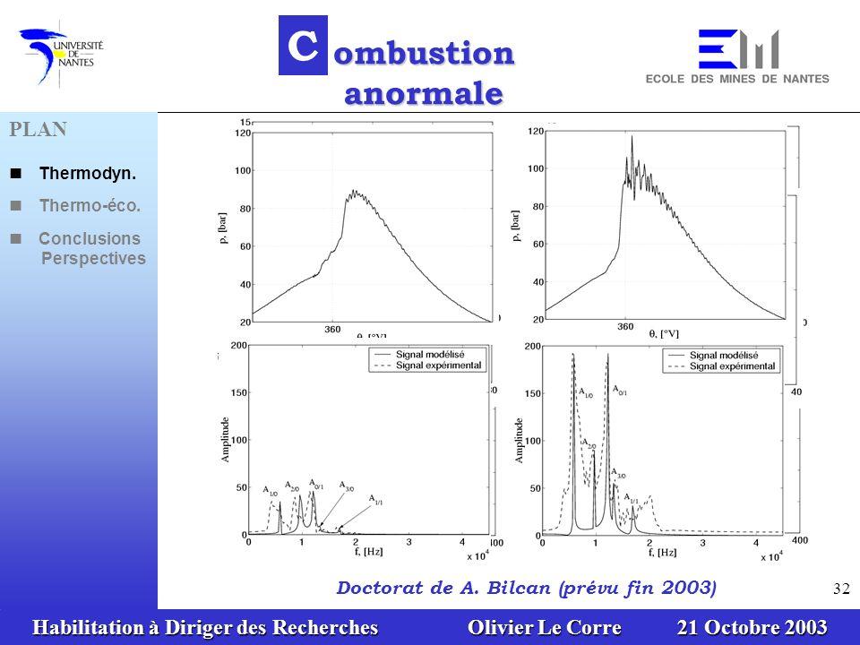 C ombustion anormale PLAN Doctorat de A. Bilcan (prévu fin 2003)