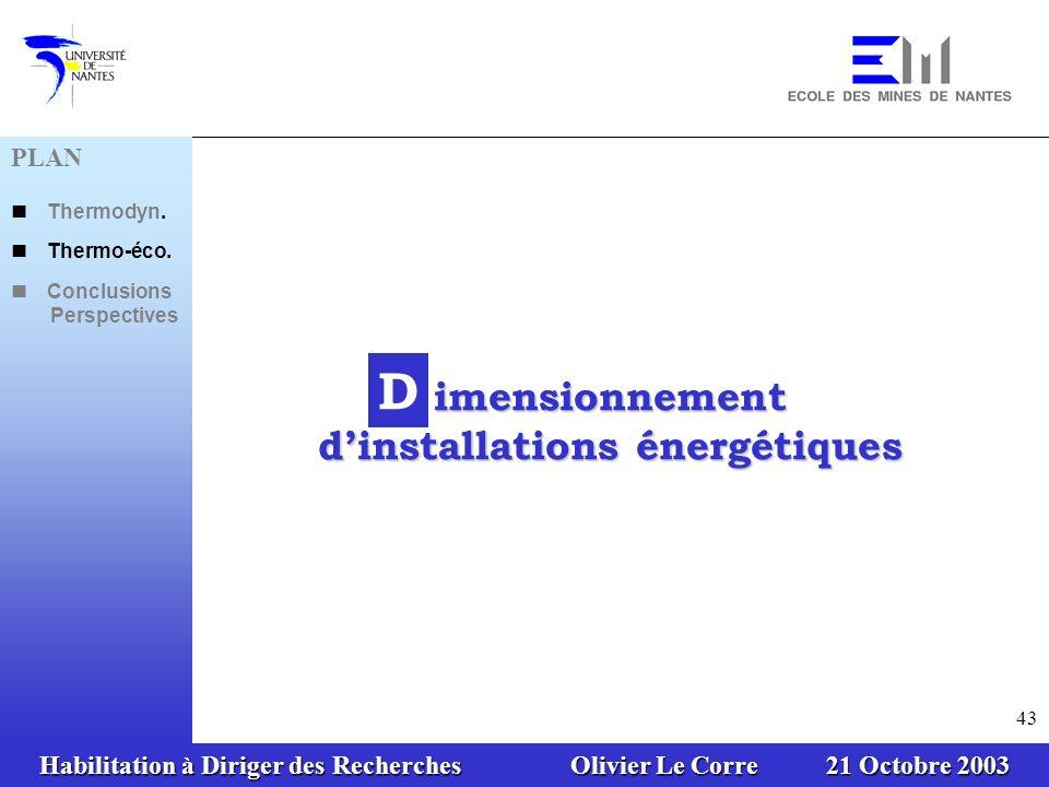imensionnement d'installations énergétiques