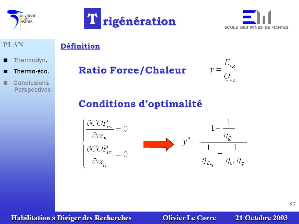 T rigénération Ratio Force/Chaleur Conditions d'optimalité PLAN
