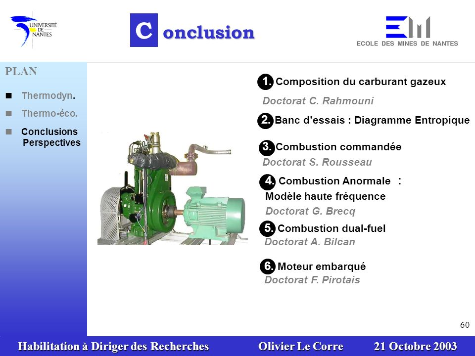 C onclusion PLAN 1. Composition du carburant gazeux