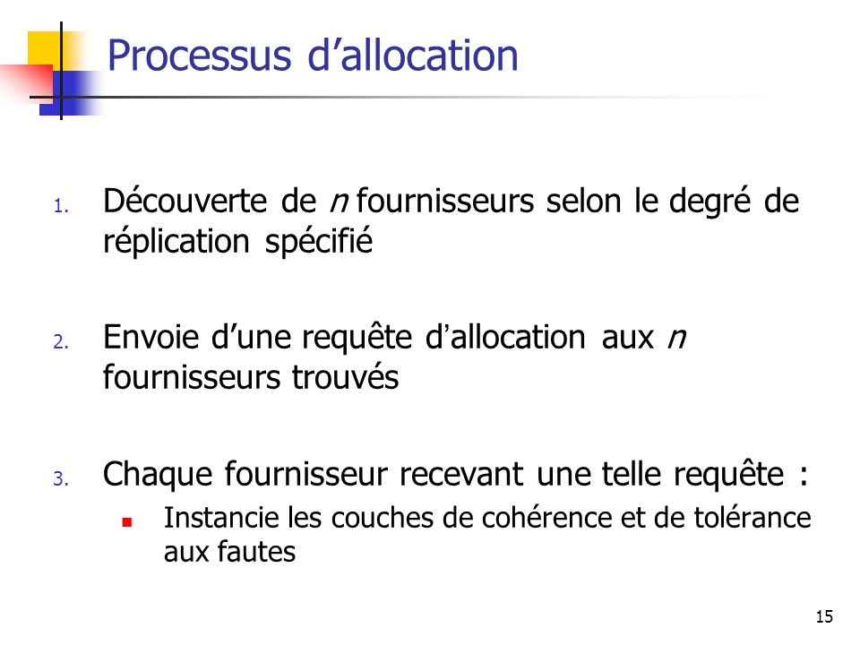 Processus d'allocation