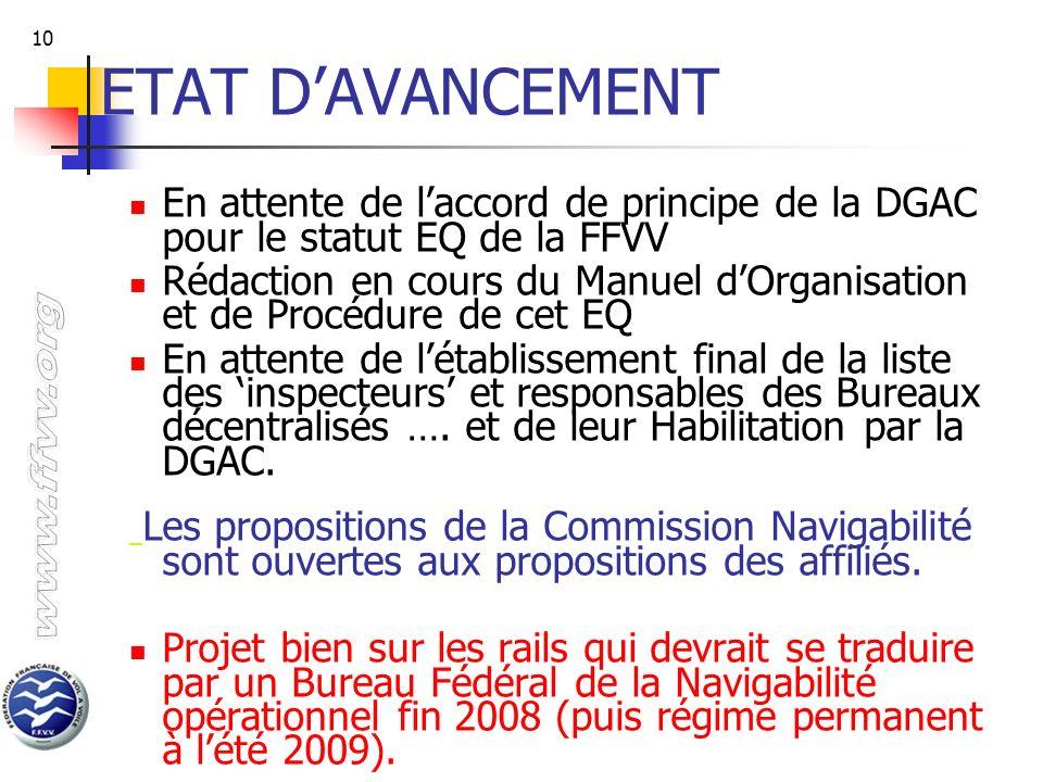 ETAT D'AVANCEMENT En attente de l'accord de principe de la DGAC pour le statut EQ de la FFVV.