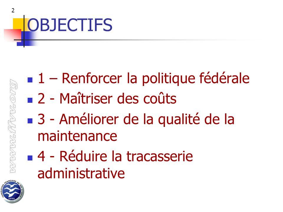 OBJECTIFS 1 – Renforcer la politique fédérale 2 - Maîtriser des coûts