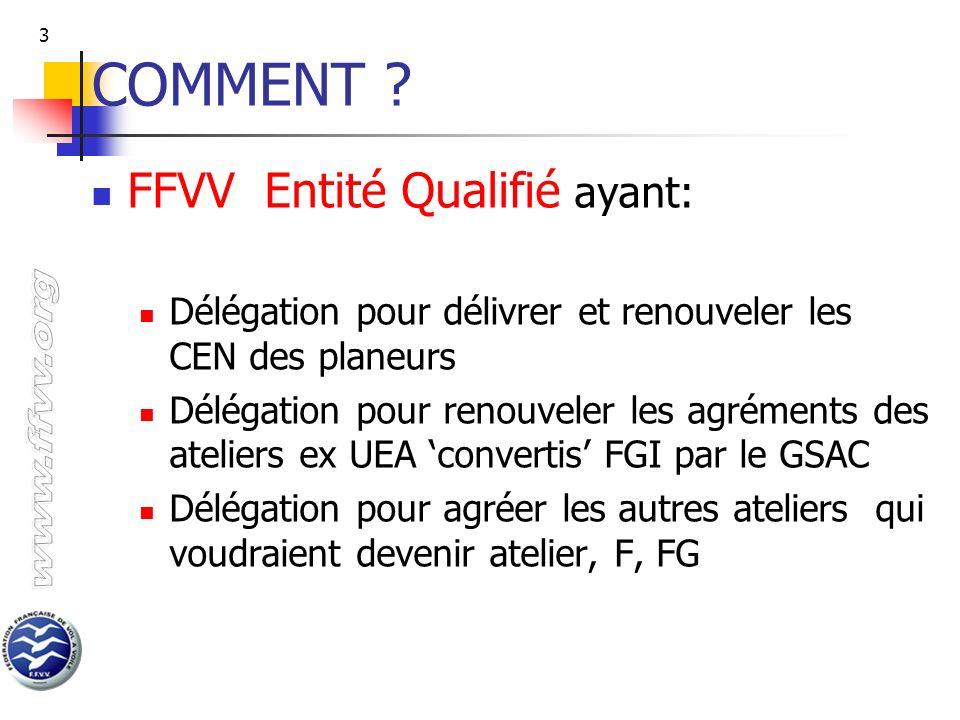 COMMENT FFVV Entité Qualifié ayant: