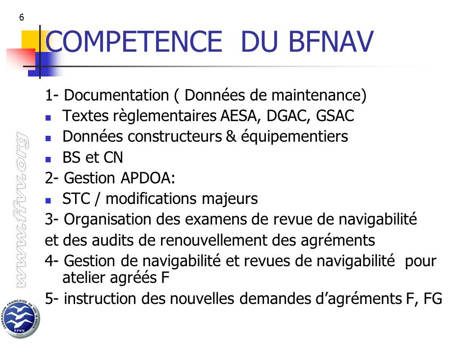 COMPETENCE DU BFNAV 1- Documentation ( Données de maintenance)