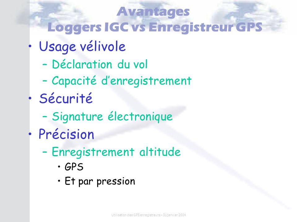 Avantages Loggers IGC vs Enregistreur GPS