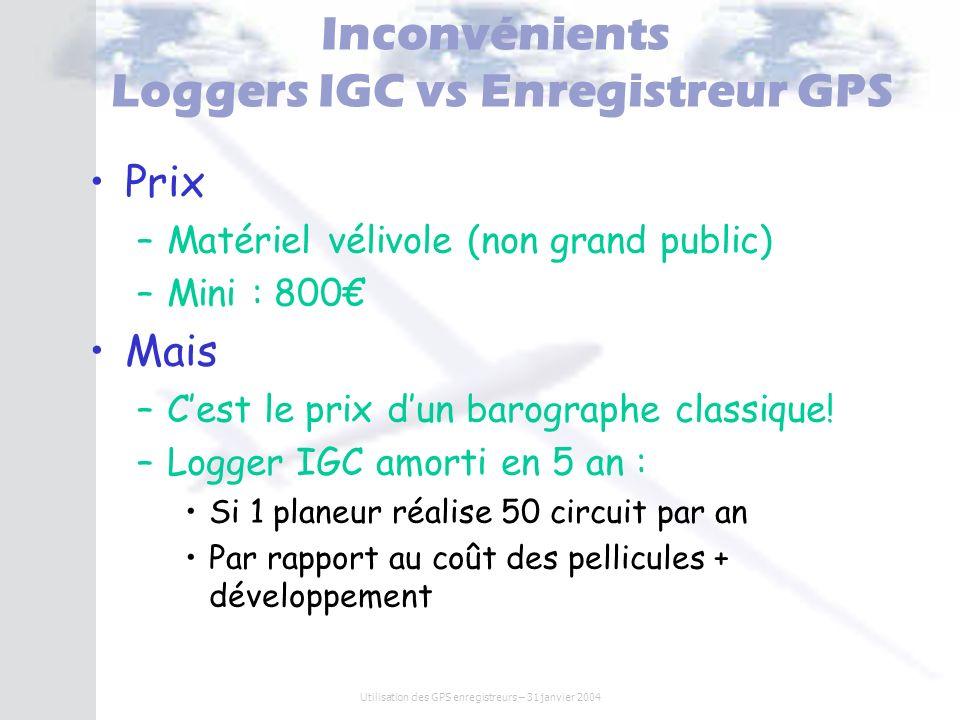 Inconvénients Loggers IGC vs Enregistreur GPS