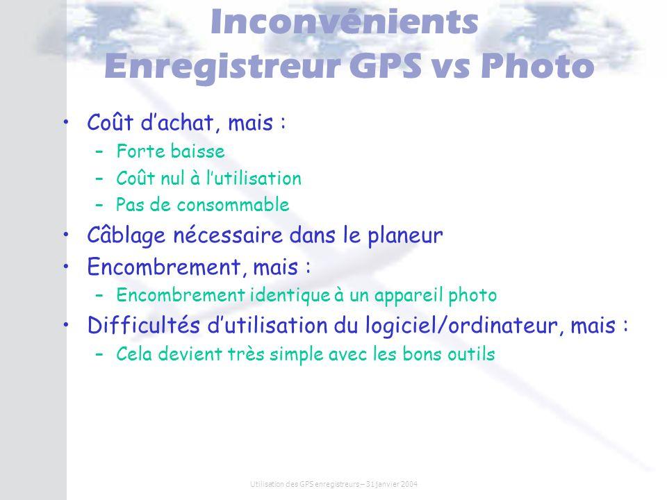 Inconvénients Enregistreur GPS vs Photo