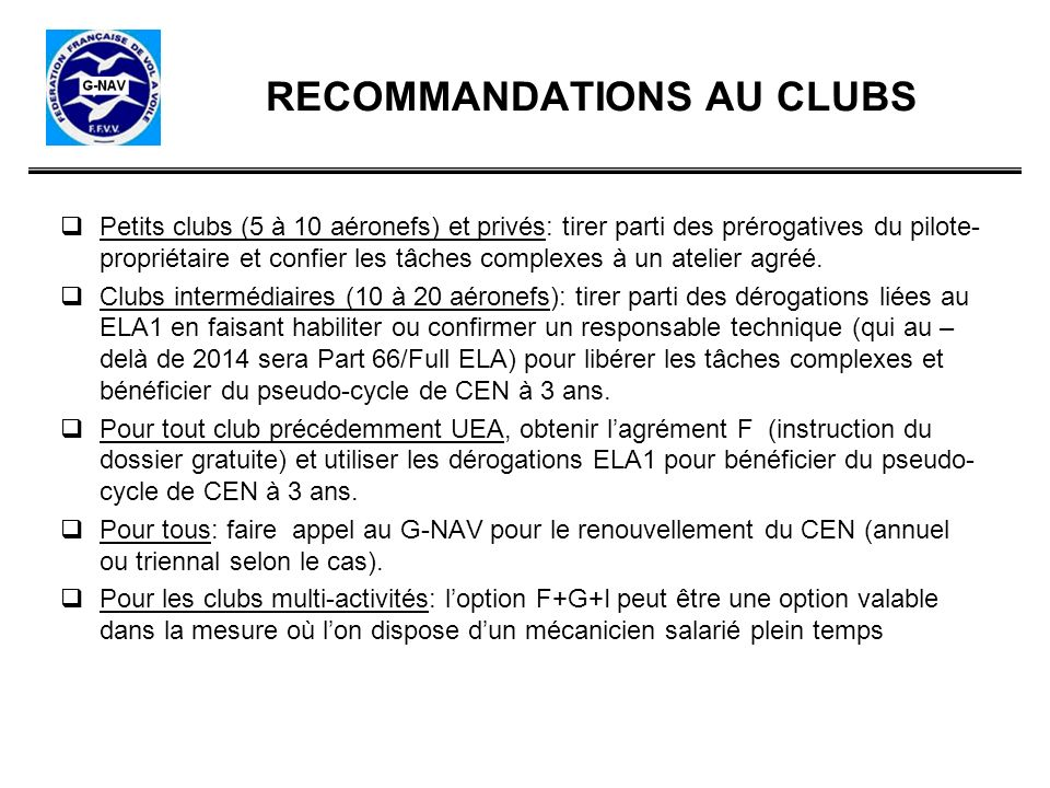 RECOMMANDATIONS AU CLUBS