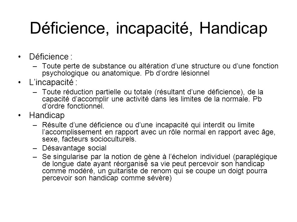 Déficience, incapacité, Handicap