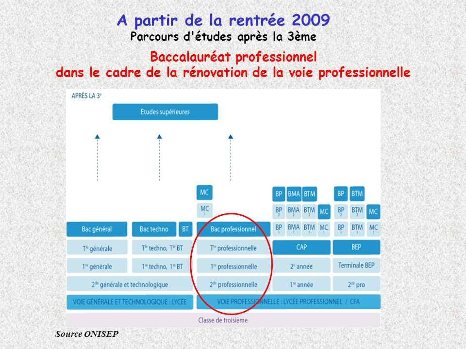 A partir de la rentrée 2009 Baccalauréat professionnel