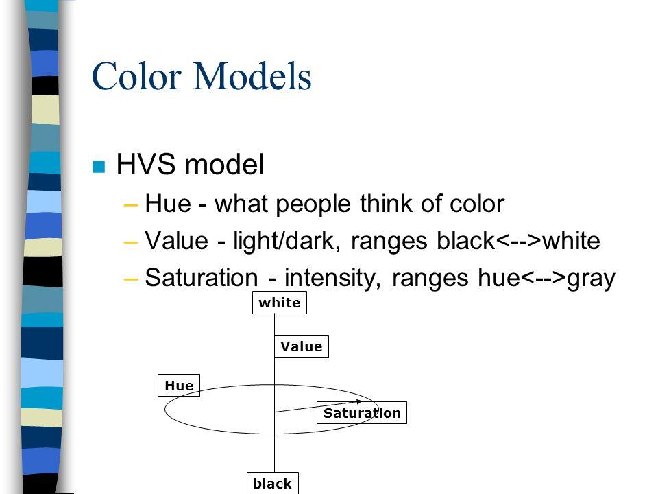 Color Models HVS model Hue - what people think of color