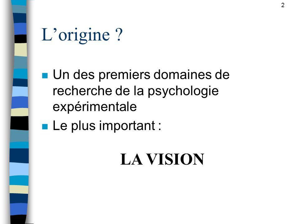 2 L'origine Un des premiers domaines de recherche de la psychologie expérimentale. Le plus important :