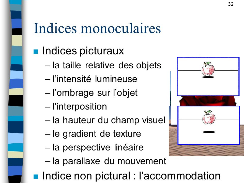 Indices monoculaires Indices picturaux