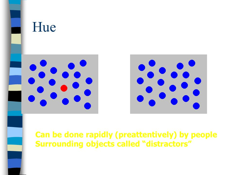Hue Can be done rapidly (preattentively) by people