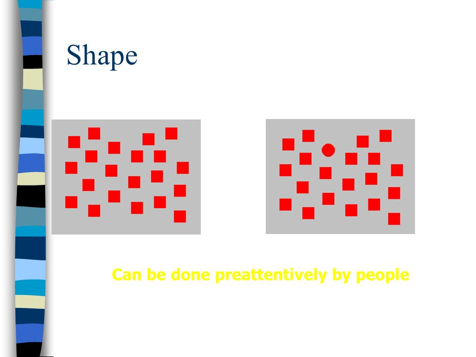 Shape Can be done preattentively by people