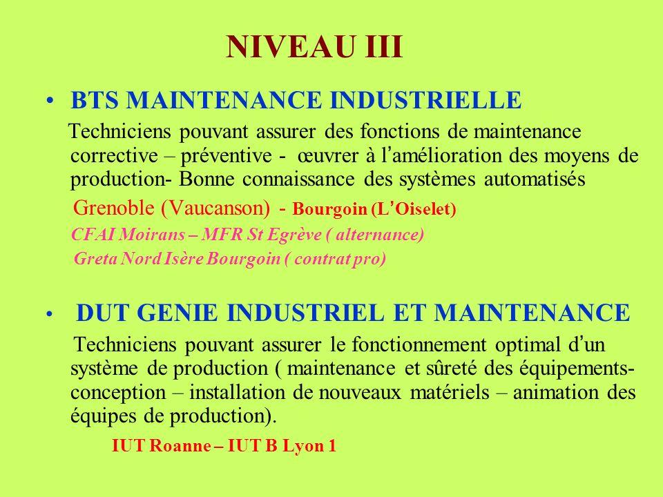 NIVEAU III BTS MAINTENANCE INDUSTRIELLE