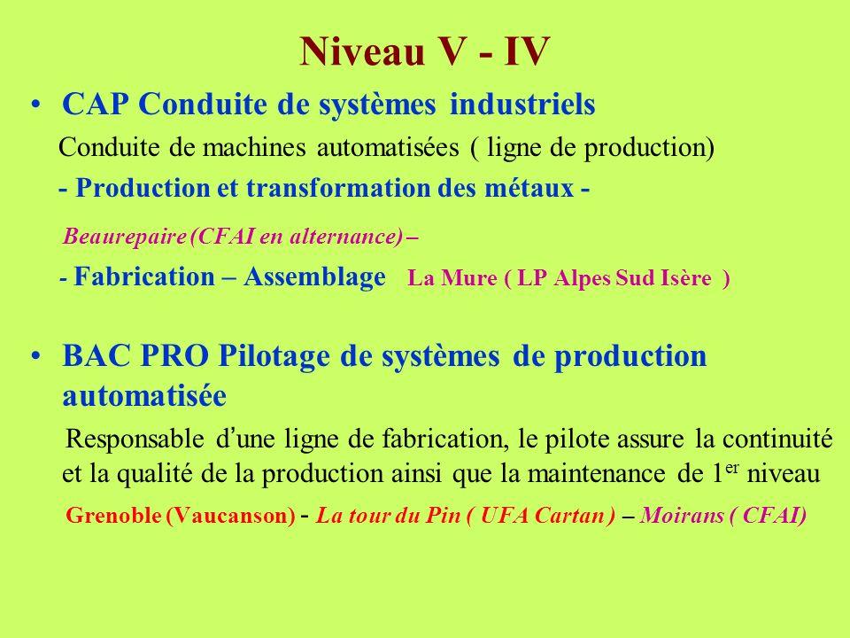 Niveau V - IV CAP Conduite de systèmes industriels