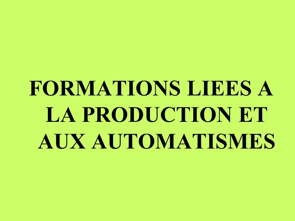 FORMATIONS LIEES A LA PRODUCTION ET AUX AUTOMATISMES