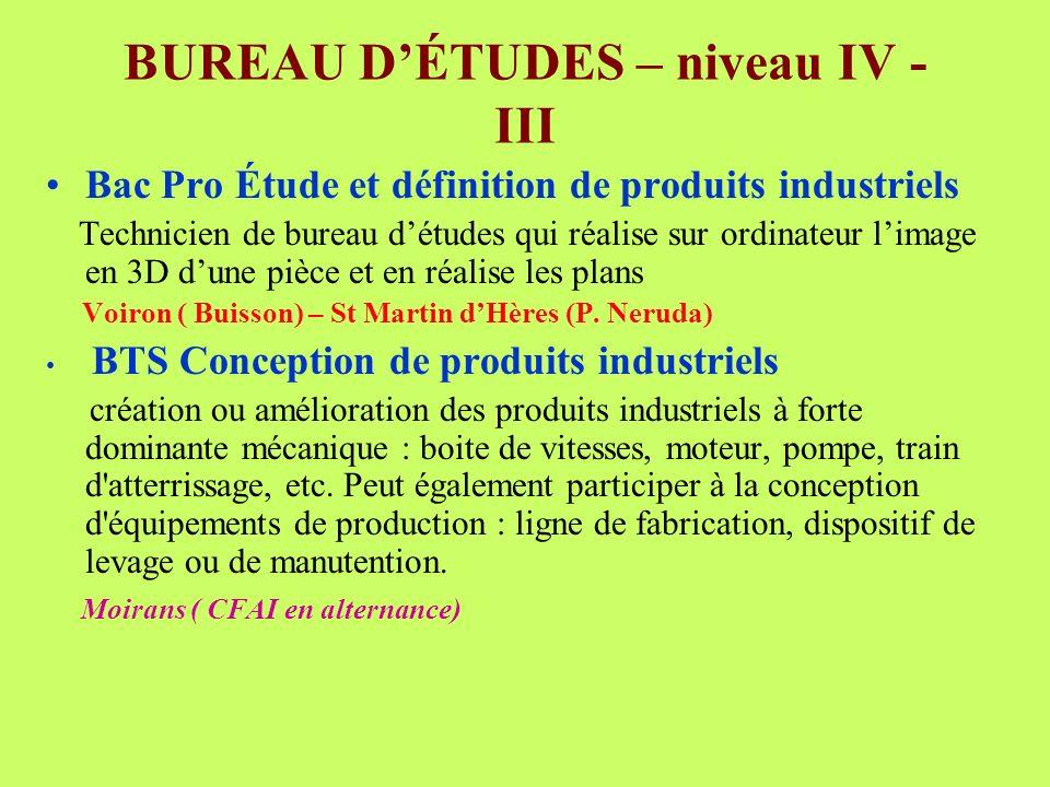 BUREAU D'ÉTUDES – niveau IV - III