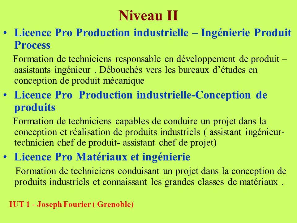 Niveau IILicence Pro Production industrielle – Ingénierie Produit Process.