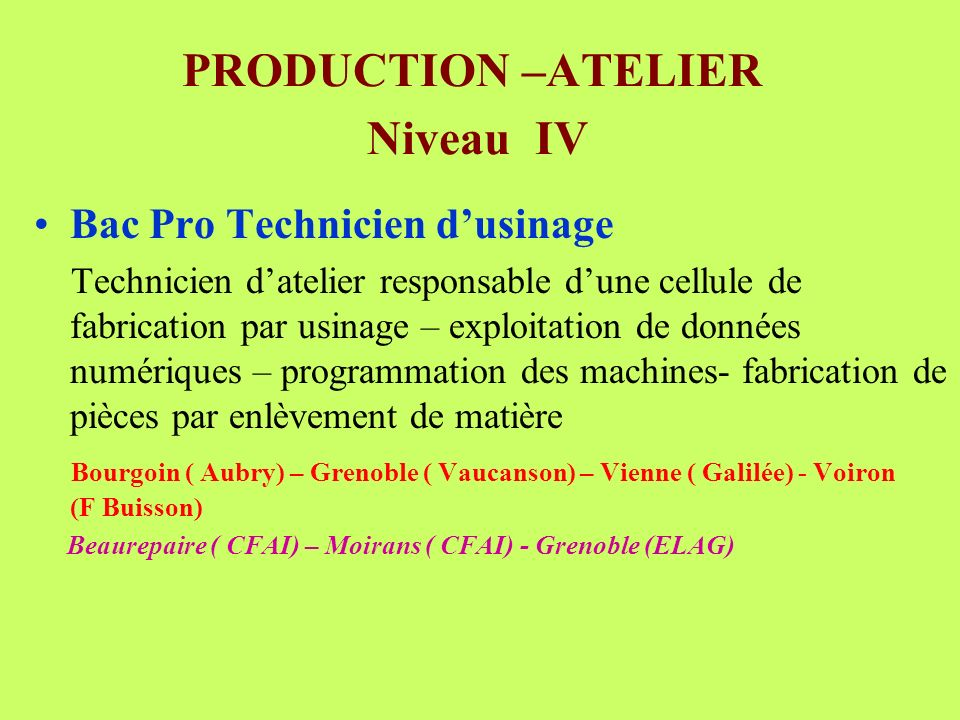 PRODUCTION –ATELIER Niveau IV