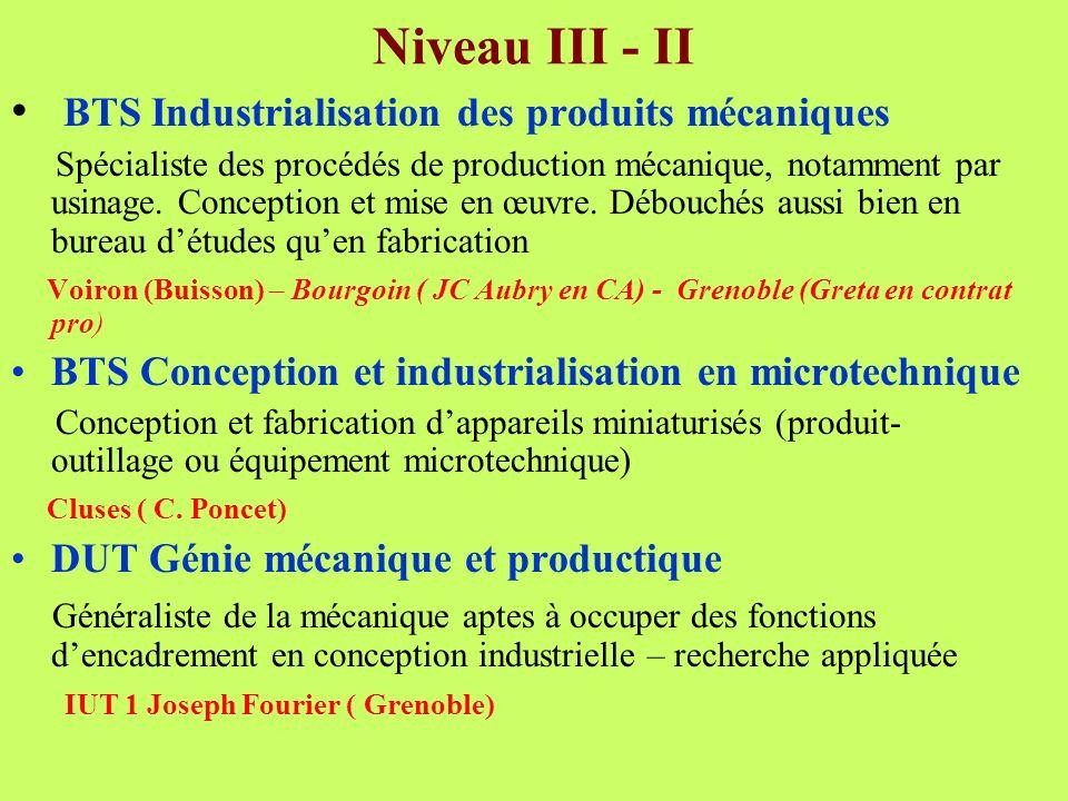 Niveau III - II BTS Industrialisation des produits mécaniques