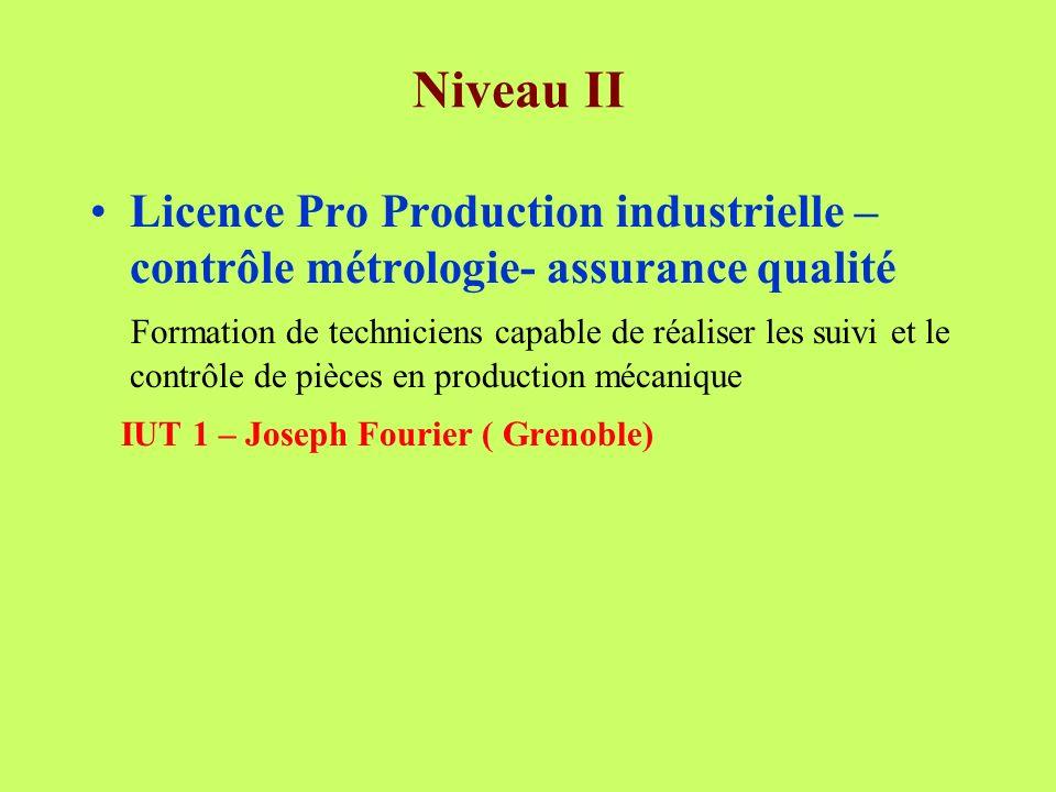 Niveau II Licence Pro Production industrielle – contrôle métrologie- assurance qualité.