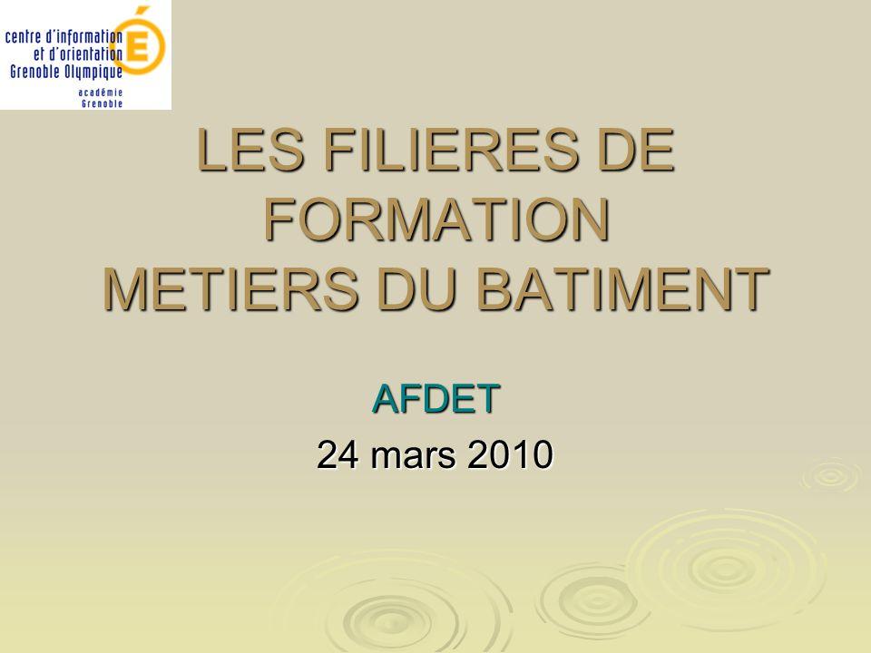 LES FILIERES DE FORMATION METIERS DU BATIMENT