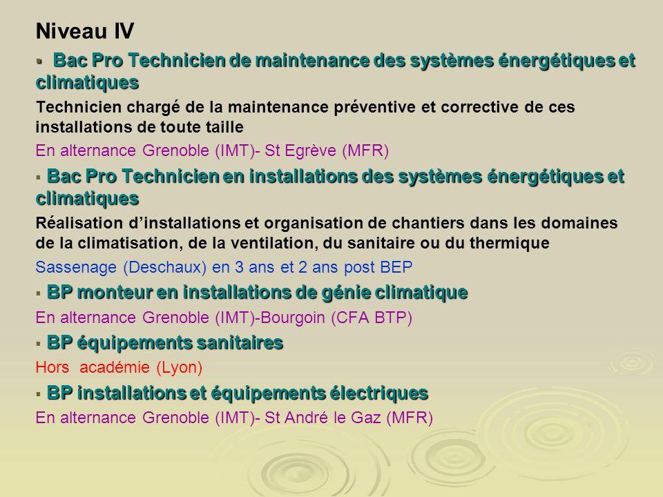 Niveau IV Bac Pro Technicien de maintenance des systèmes énergétiques et climatiques.