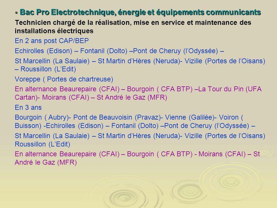 Bac Pro Electrotechnique, énergie et équipements communicants