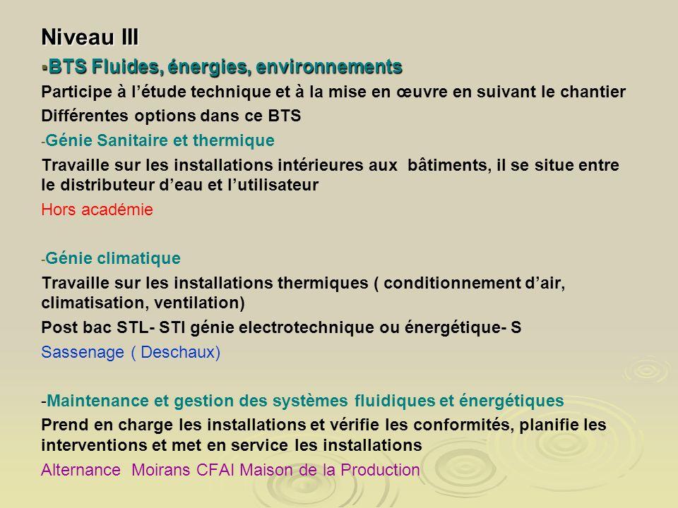 Niveau III BTS Fluides, énergies, environnements