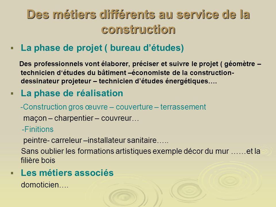 Des métiers différents au service de la construction