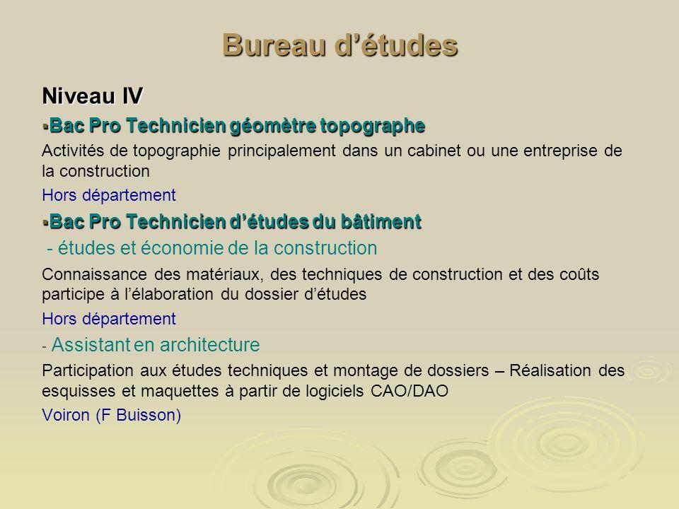 Bureau d'études Niveau IV Bac Pro Technicien géomètre topographe