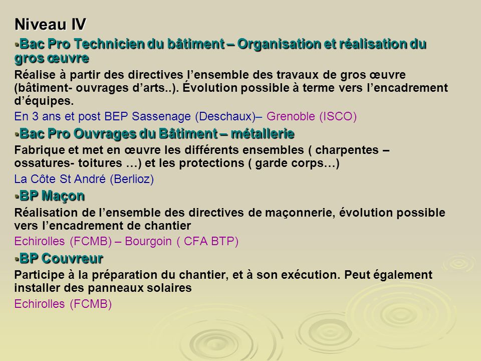 Niveau IV Bac Pro Technicien du bâtiment – Organisation et réalisation du gros œuvre.