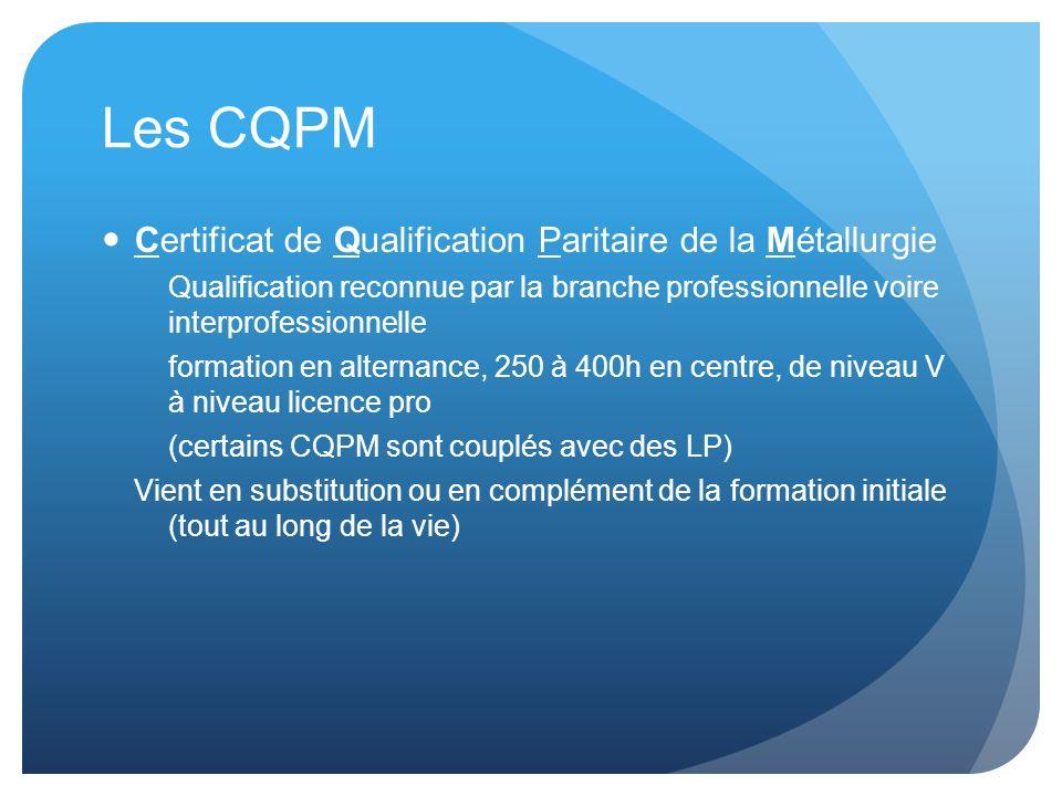 Les CQPM Certificat de Qualification Paritaire de la Métallurgie