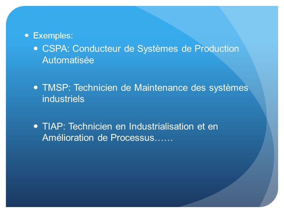 CSPA: Conducteur de Systèmes de Production Automatisée