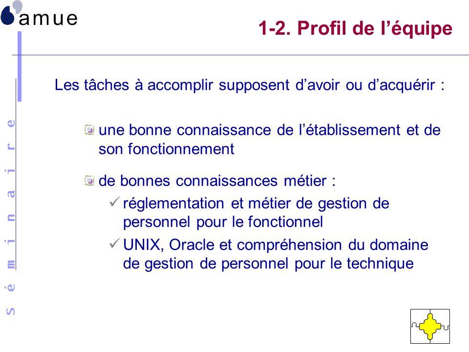 1-2. Profil de l'équipe Les tâches à accomplir supposent d'avoir ou d'acquérir : une bonne connaissance de l'établissement et de son fonctionnement.