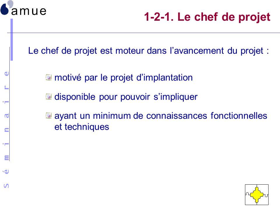 1-2-1. Le chef de projet Le chef de projet est moteur dans l'avancement du projet : motivé par le projet d'implantation.