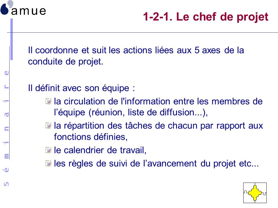 1-2-1. Le chef de projet Il coordonne et suit les actions liées aux 5 axes de la conduite de projet.